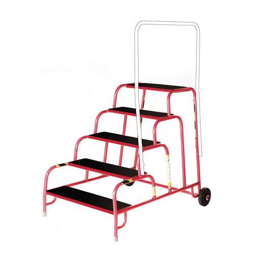 5 Tread Mobile Step No Handrail Rubber Tread Red