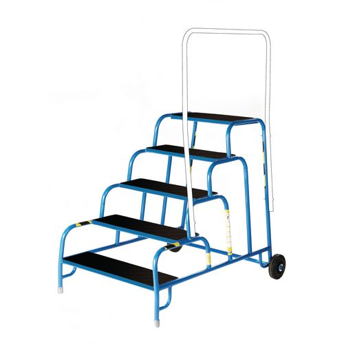 5 Tread Mobile Step No Handrail Rubber Tread Blue