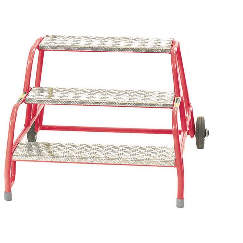 3 Tread Mobile Step No Handrail Aluminium Tread Red