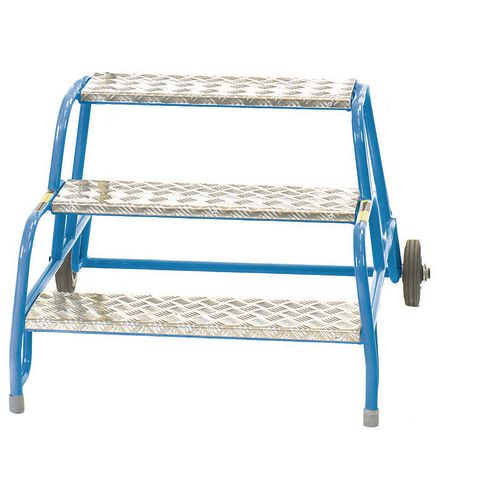 3 Tread Mobile Step No Handrail Aluminium Tread Blue