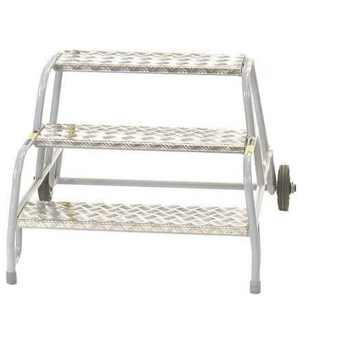 3 Tread Mobile Step No Handrail Aluminium Tread Grey