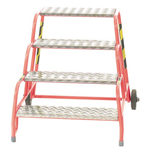 4 Tread Mobile Step No Handrail Aluminium Tread Red