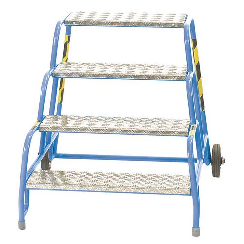 4 Tread Mobile Step No Handrail Aluminium Tread Blue