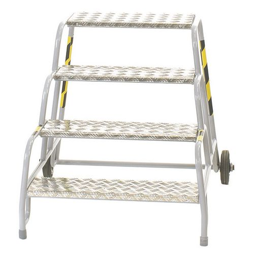 4 Tread Mobile Step No Handrail Aluminium Tread Grey