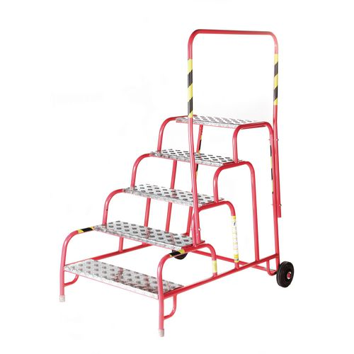 5 Tread Mobile Step No Handrail Aluminium Tread Red