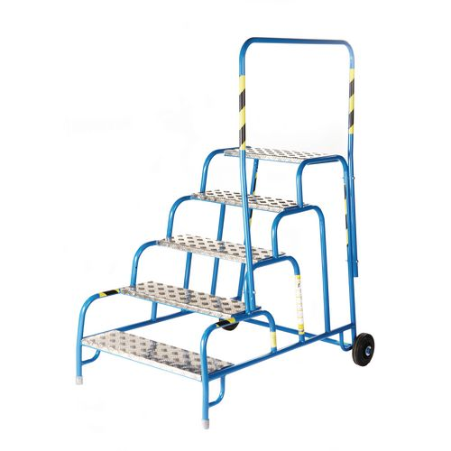5 Tread Mobile Step No Handrail Aluminium Tread Blue