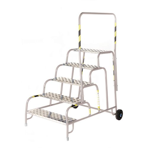 5 Tread Mobile Step No Handrail Aluminium Tread Grey