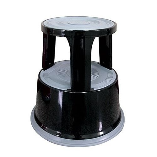 Steel Mobile Safety Step Stool Black