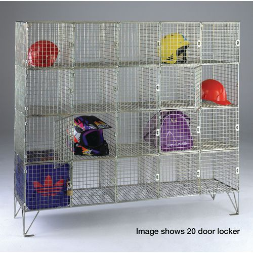 16 Compartment Mesh Locker 1370X1210X305 With Individual Doors