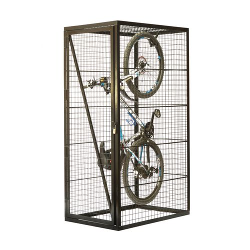 Vertical Mesh Cycle Locker With Integrated Mounting Hook