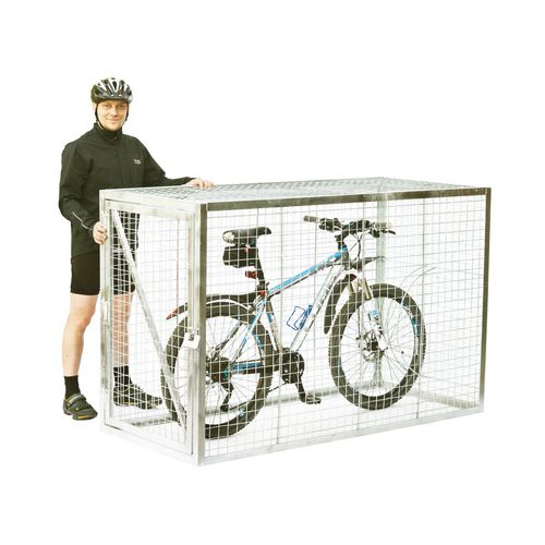 Mesh Cycle Locker With Integrated Stand Galvanised