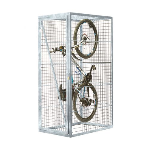 Vertical Mesh Cycle Locker With Integrated Mounting Hook  Galvanised