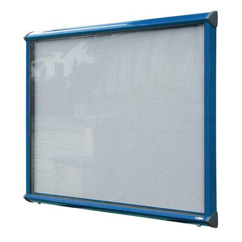 Shield External Lockable Outdoor Weather-proof IP55 Noticeboard Showcase - Blue Frame - Shield Exterior Showcase 8xA4 Portrait - Light Grey