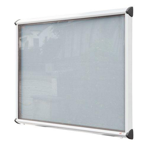 Shield External Lockable Outdoor Weather-proof IP55 Noticeboard Showcase - White Frame - Shield Exterior Showcase 9xA4 Portrait - Light Grey