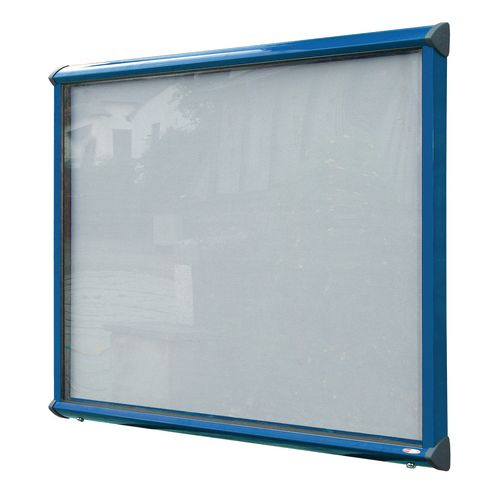 Shield External Lockable Outdoor Weather-proof IP55 Noticeboard Showcase - Blue Frame - Shield Exterior Showcase 15xA4 Portrait - Light Grey