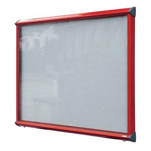 Shield External Lockable Outdoor Weather-proof IP55 Noticeboard Showcase - Red Frame - Shield Exterior Showcase 15xA4 Portrait - Light Grey
