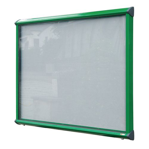 Shield External Lockable Outdoor Weather-proof IP55 Noticeboard Showcase - Green Frame - Shield Exterior Showcase 15xA4 Portrait - Light Grey