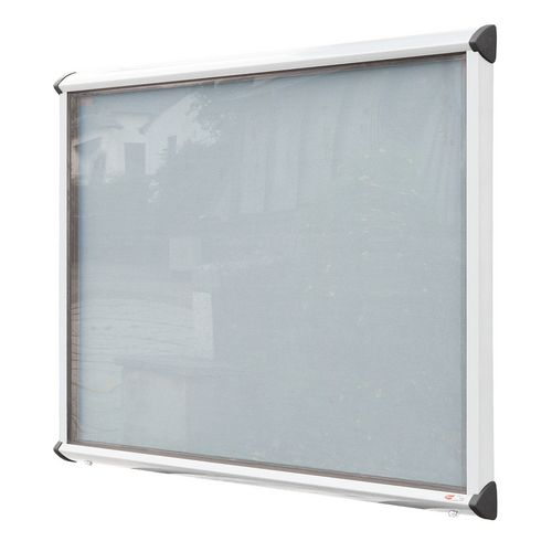 Shield External Lockable Outdoor Weather-proof IP55 Noticeboard Showcase - White Frame - Shield Exterior Showcase 15xA4 Portrait - Light Grey