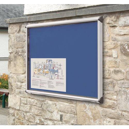 Shield External Lockable Outdoor Weather-proof IP55 Noticeboard Showcase - Aluminium frame - Shield Exterior Showcase 18xA4 Portrait - Royal Blue