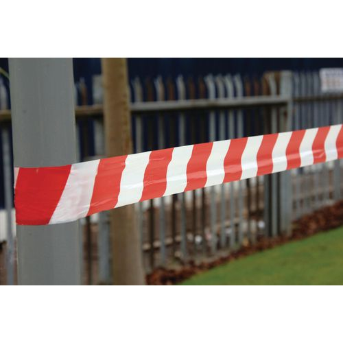 Red And White Non-Adhesive Barrier Tape 25Mu