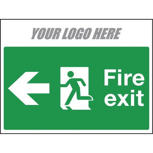 Sign Fire Exit Arrow Left 800X600mm 10mm Correx