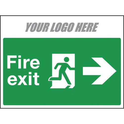 Sign Fire Exit Arrow Right 800X600mm 10mm Correx