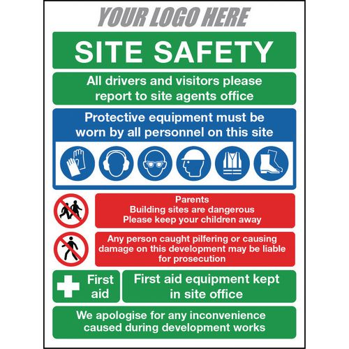 Site Safety Sign 600X400mm 4mm Correx