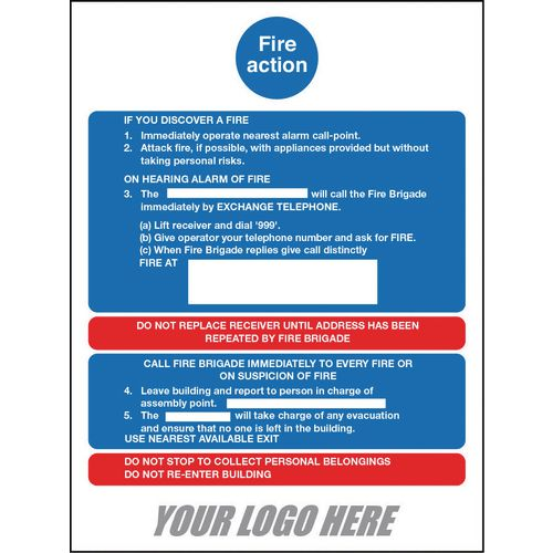 Sign Fire Action Notice 800X600mm 4mm Correx