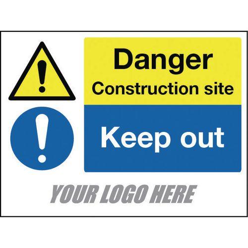 Sign Danger Construction Site Keep Out 600X400mm 4mm Correx