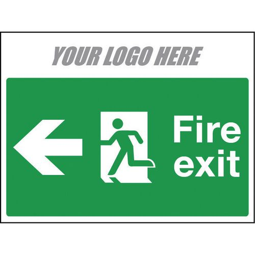 Sign Fire Exit Arrow Left 800X600mm 4mm Correx