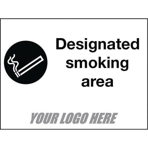 Sign Designated Smoking Area 800X600mm 4mm Correx