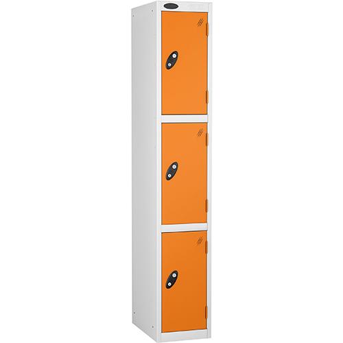 3 Door Locker D:457mm White Body &Orange Door