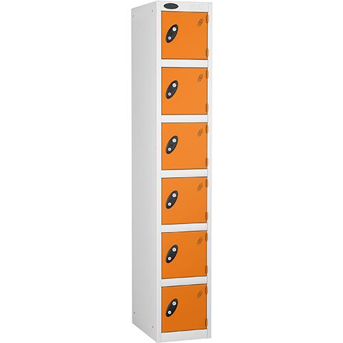 6 Door Locker D:457mm White Body &Orange Door