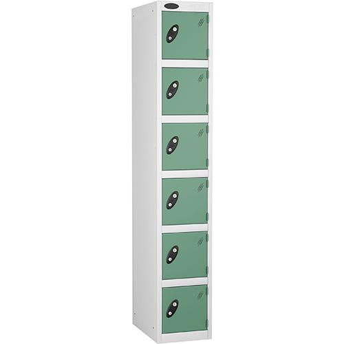 Locker 6 Door D:457mm White Body &Jade Door