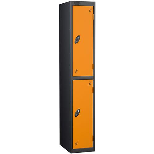 Black Body Locker 12x18 Two Orange Doors