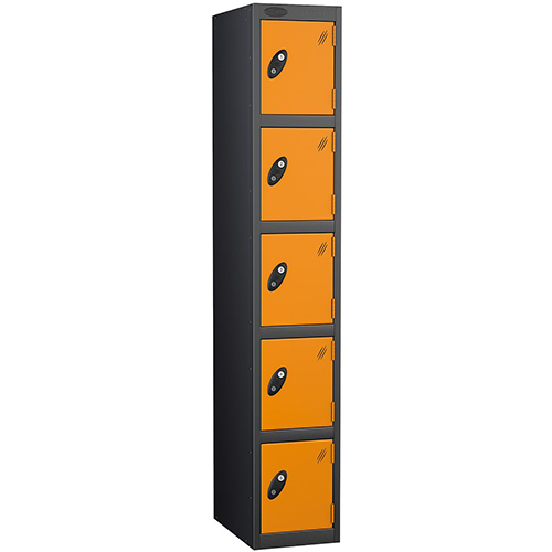 Black Body Locker 12x18 Five Orange Doors