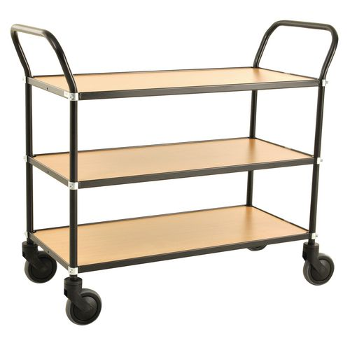 Trolley 3 Shelves Black Frame &Beech Shelves