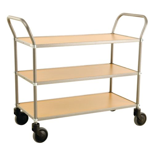 Trolley 3 Shelves Grey Frame &Beech Shelves