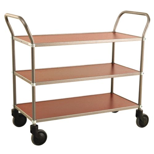 Trolley 3 Shelves Grey Frame &Mahogany Shelves