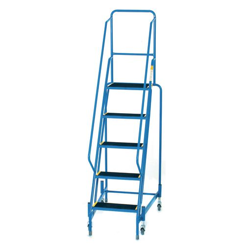 Mobile Step 5 Tread With Full Handrail Blue