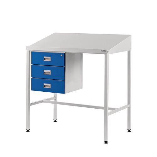 Sloping Top Teamleader Workstation With Triple Drawer 1060.1000.600