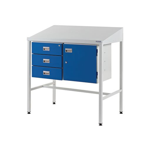Sloping Top Teamleader Workstation With Triple Drawer &Cupboard 1060.1000.600