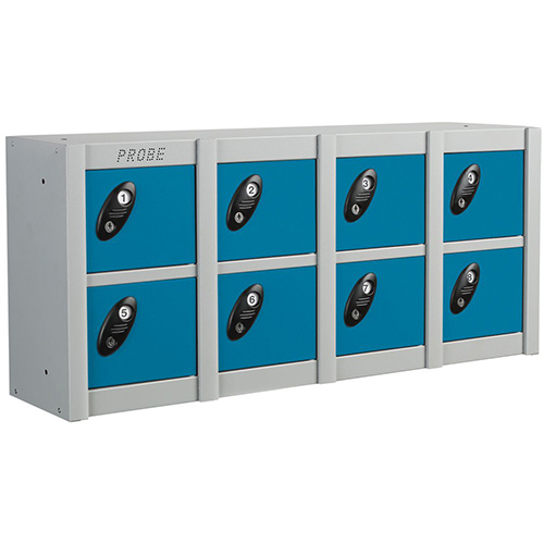 Minibox Blue 8 Multi Door Strip Low Stackable Locker
