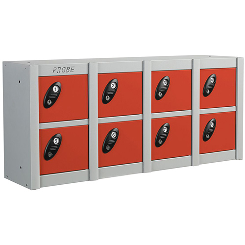 Minibox Red 8 Multi Door Strip Low Stackable Locker