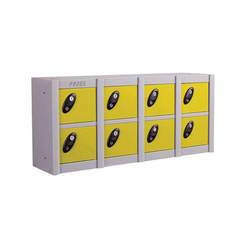 Minibox Yellow 8 Multi Door Strip Low Stackable Locker