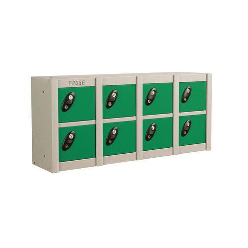 Minibox Green 8 Multi Door Strip Low Stackable Locker