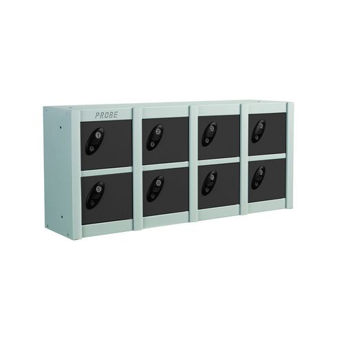 Minibox Black 8 Multi Door Strip Low Stackable Locker
