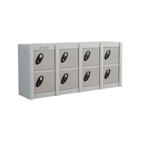 Minibox Silver 8 Multi Door Strip Low Stackable Locker