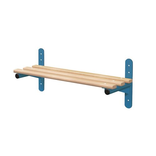 1500mm Wall Mounted Bench Type F With Blue Frame And Ash Slats