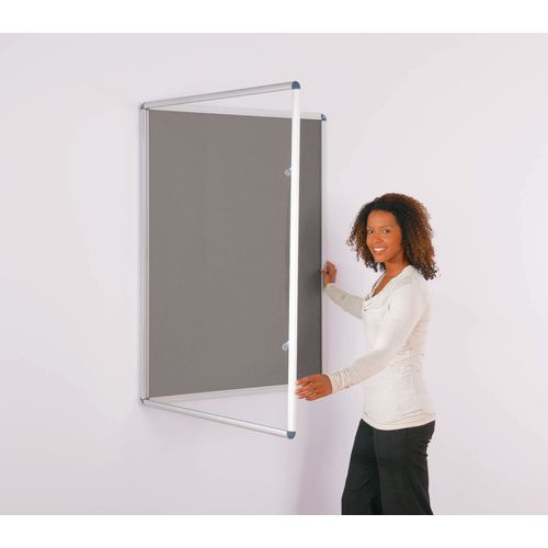 Express Economy Indoor Lockable Noticeboard 1200x1200mm (Hxw) Grey